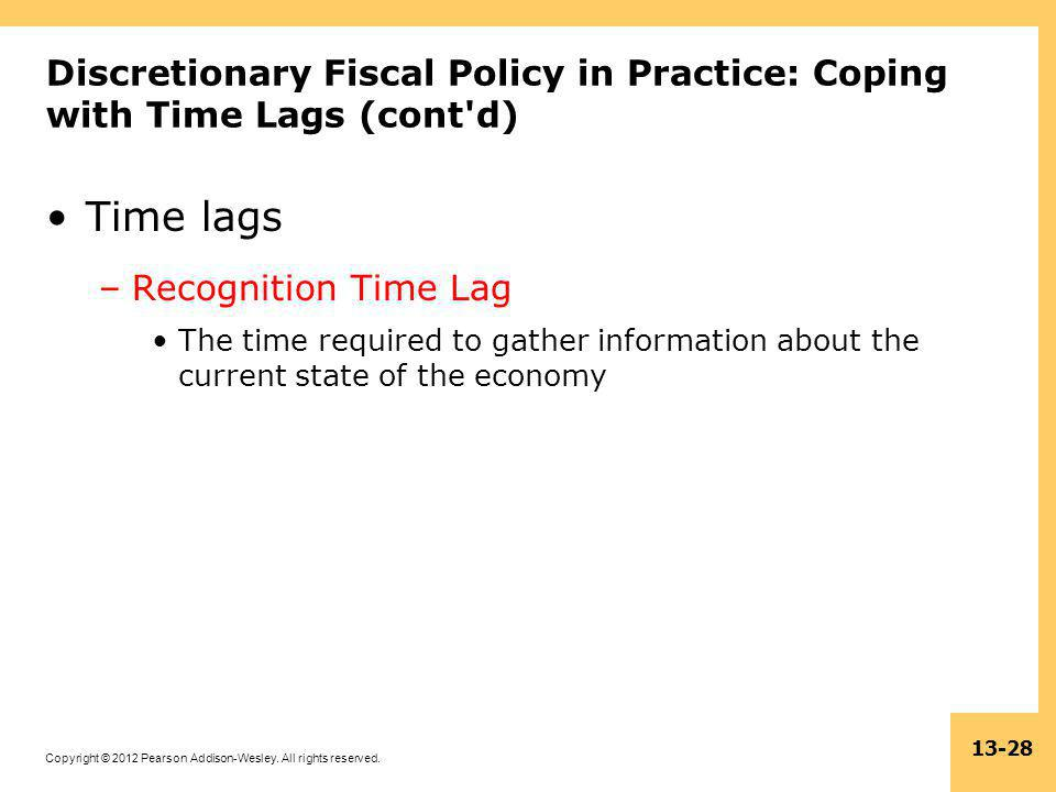 Discretionary Fiscal Policy in Practice: Coping with Time Lags (cont d)