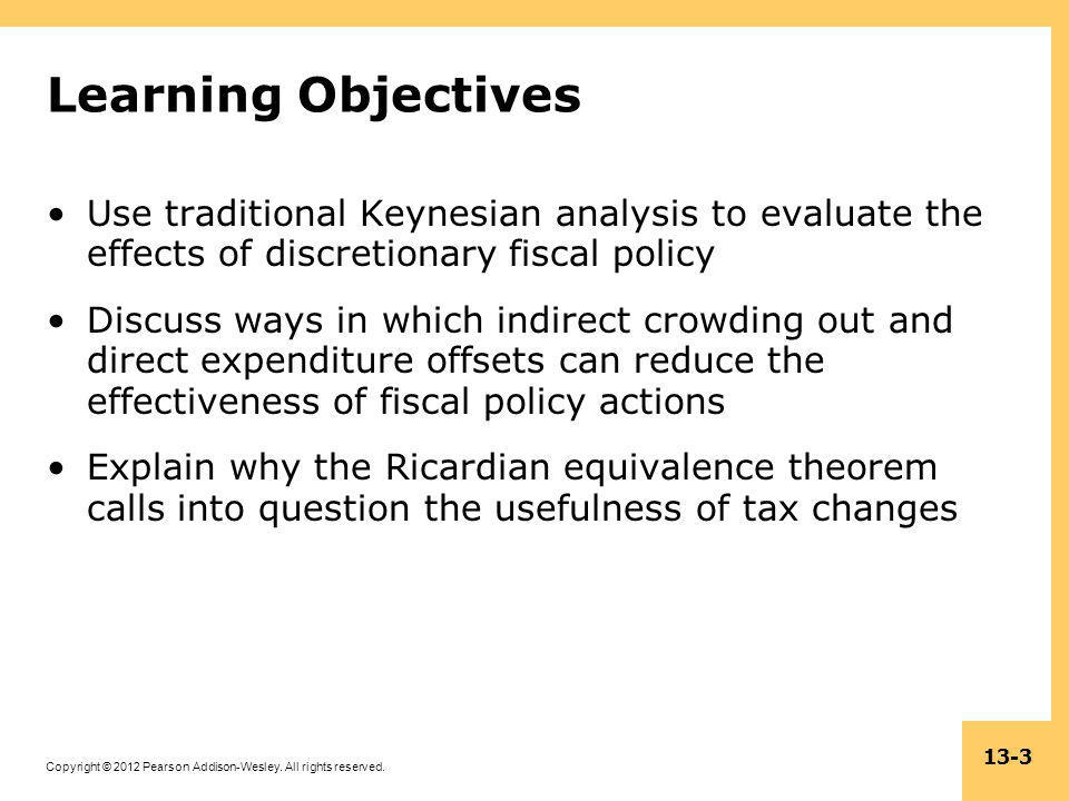 Learning Objectives Use traditional Keynesian analysis to evaluate the effects of discretionary fiscal policy.