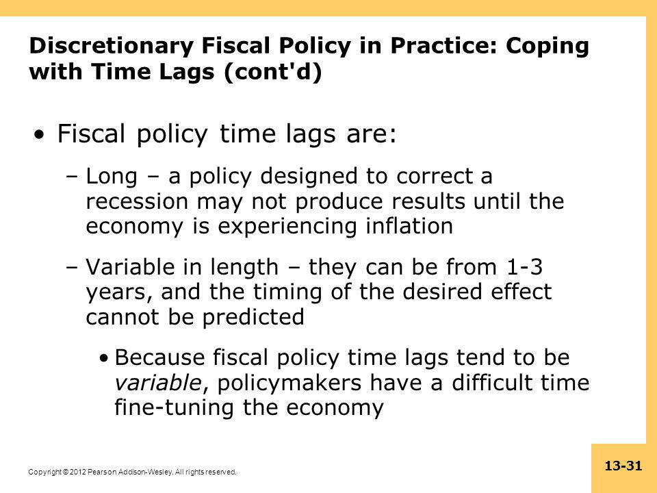 Fiscal policy time lags are: