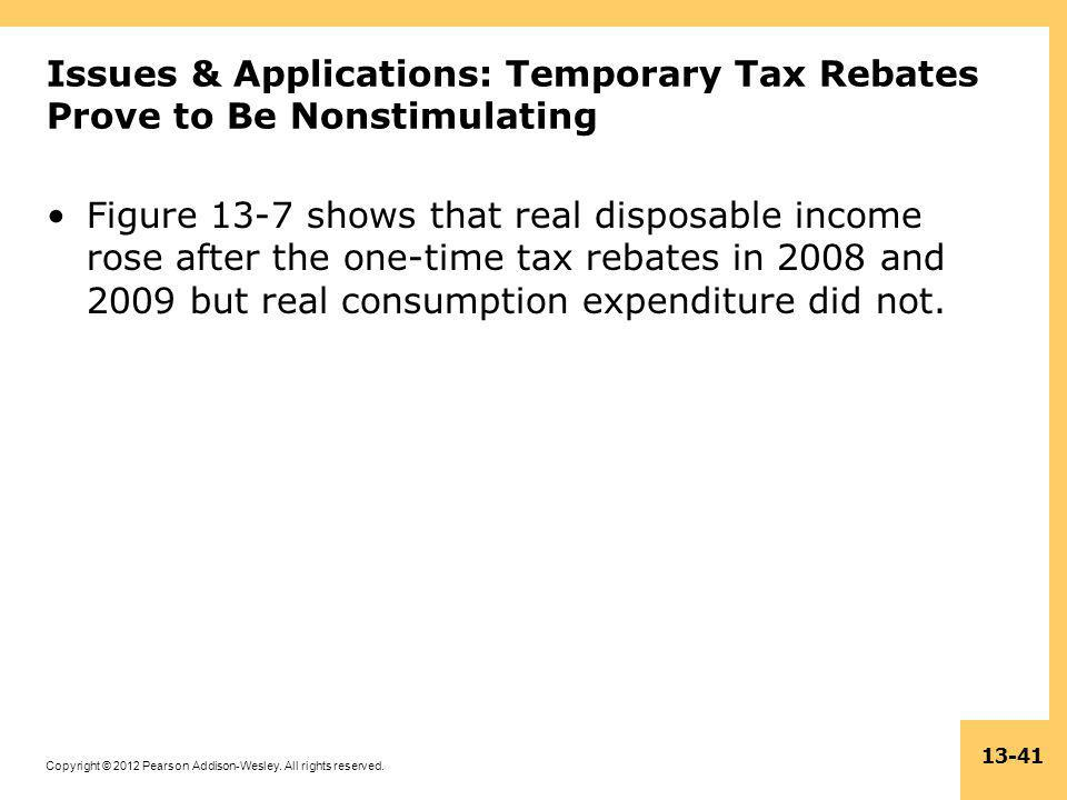 Issues & Applications: Temporary Tax Rebates Prove to Be Nonstimulating