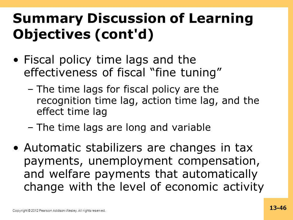 Summary Discussion of Learning Objectives (cont d)