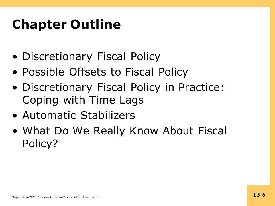 Chapter Outline Discretionary Fiscal Policy