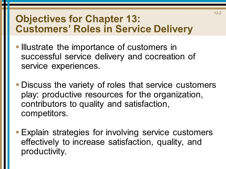 Objectives for Chapter 13: Customers' Roles in Service Delivery