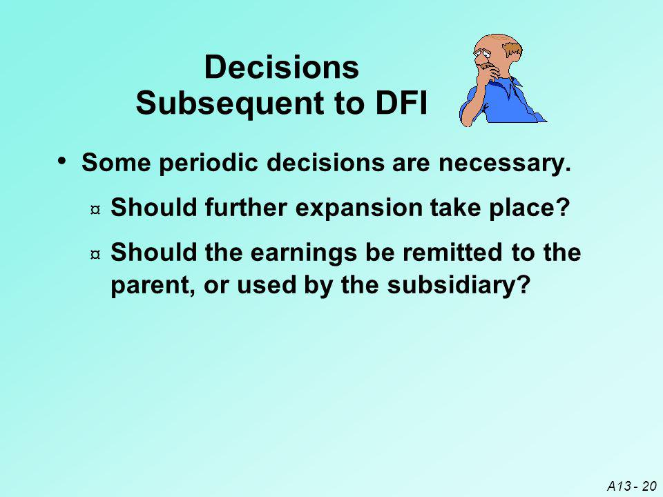 Decisions Subsequent to DFI