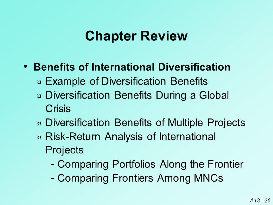 Chapter Review Benefits of International Diversification