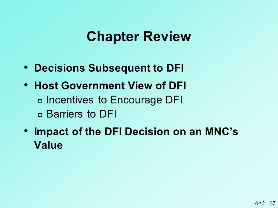 Chapter Review Decisions Subsequent to DFI Host Government View of DFI