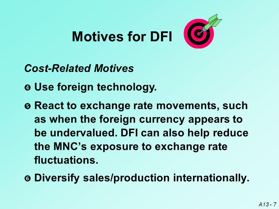 Motives for DFI Cost-Related Motives Use foreign technology.