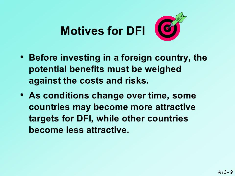 Motives for DFI Before investing in a foreign country, the potential benefits must be weighed against the costs and risks.