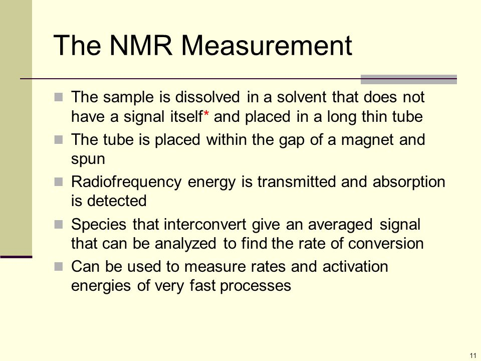 The NMR Measurement The sample is dissolved in a solvent that does not have a signal itself* and placed in a long thin tube.
