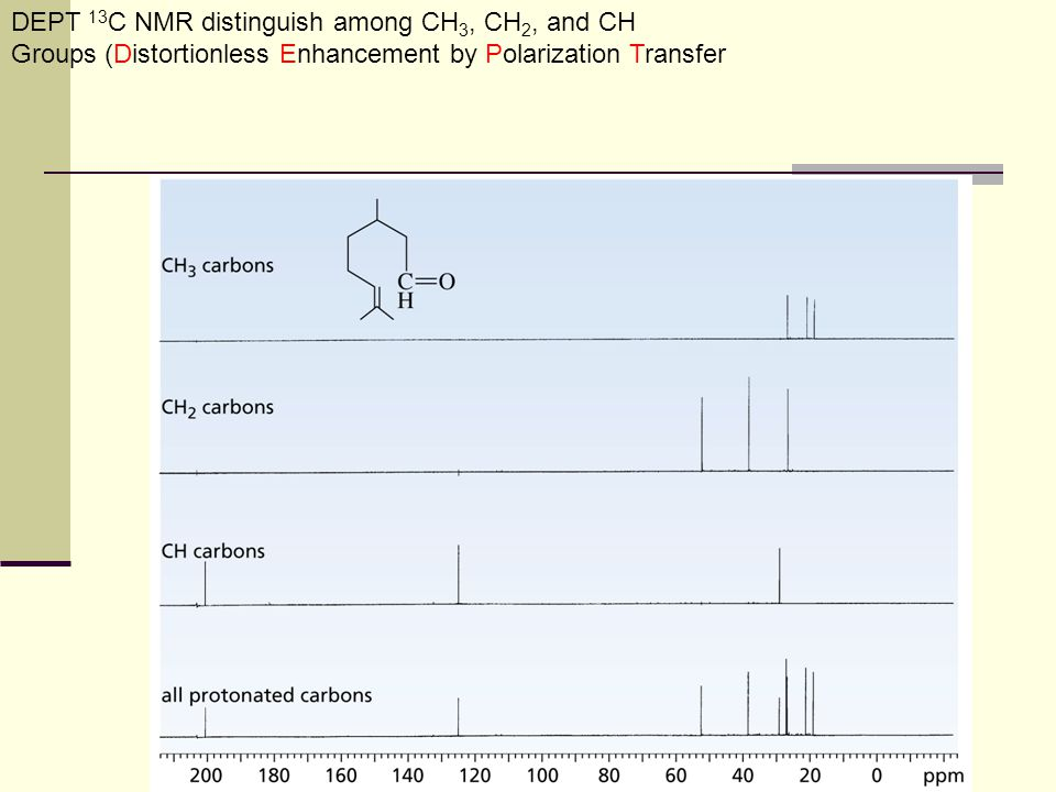 DEPT 13C NMR distinguish among CH3, CH2, and CH