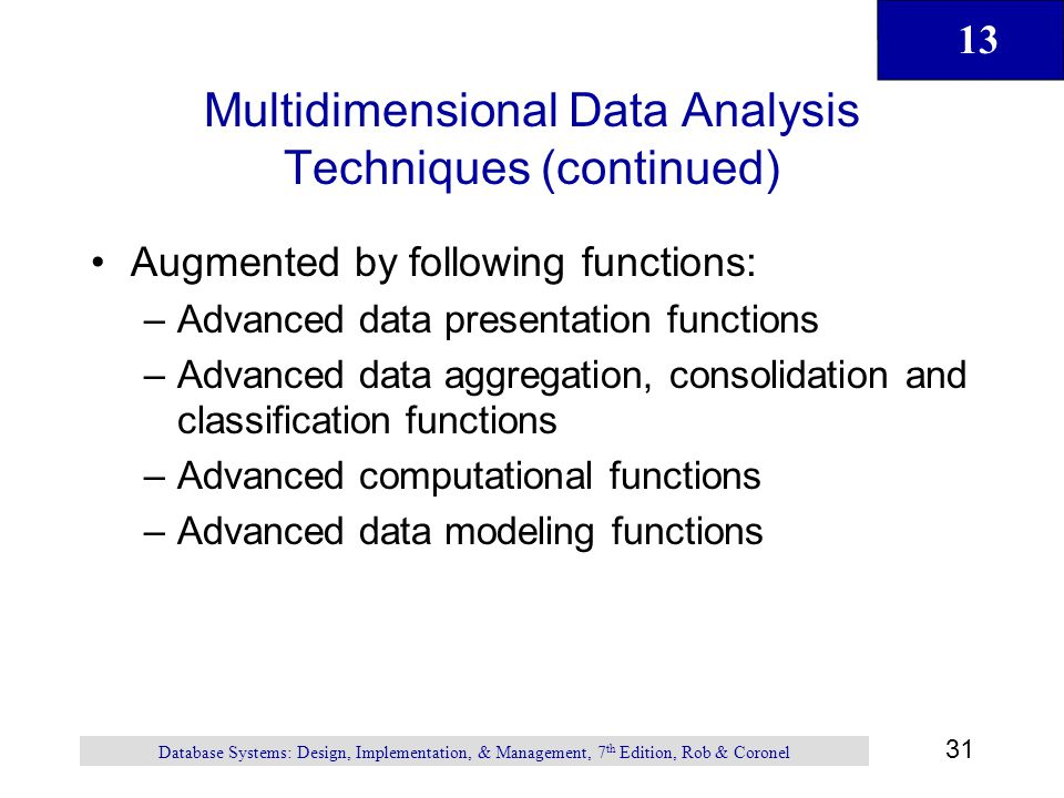 Multidimensional Data Analysis Techniques (continued)
