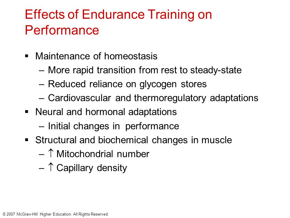 Effects of Endurance Training on Performance