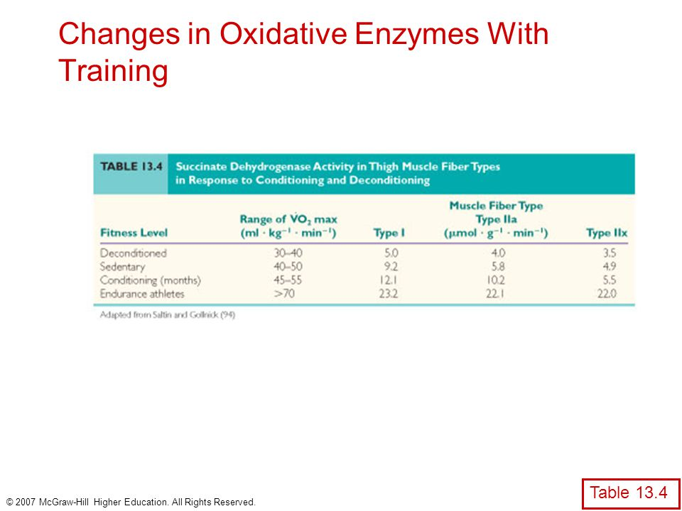 Changes in Oxidative Enzymes With Training