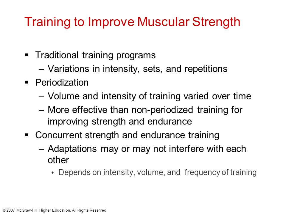 Training to Improve Muscular Strength