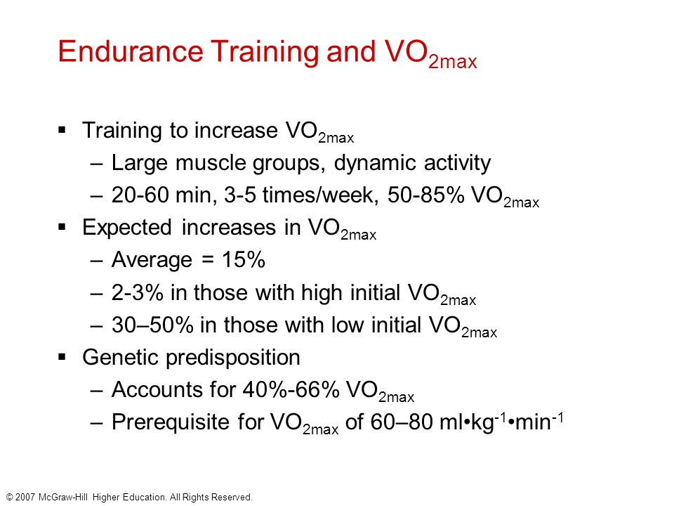 Endurance Training and VO2max