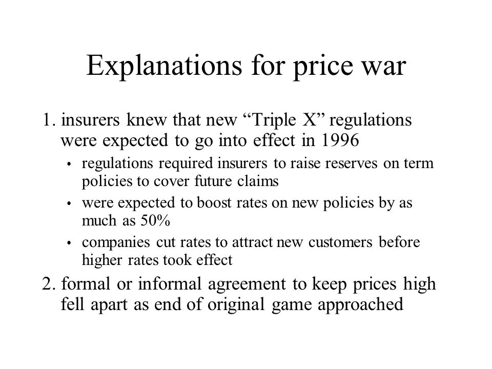 Explanations for price war