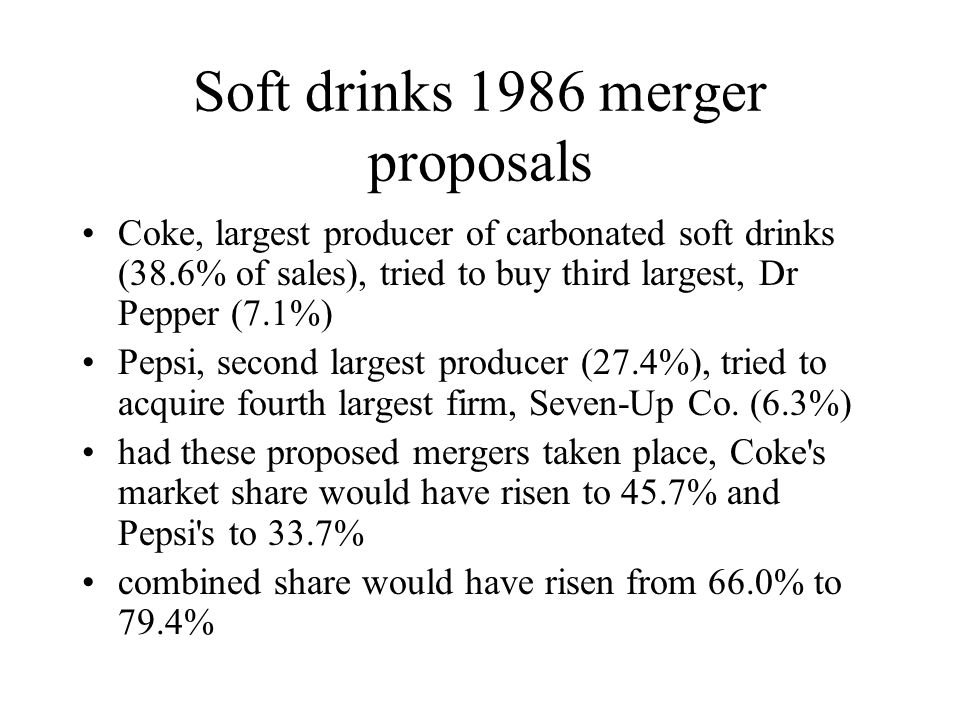 Soft drinks 1986 merger proposals