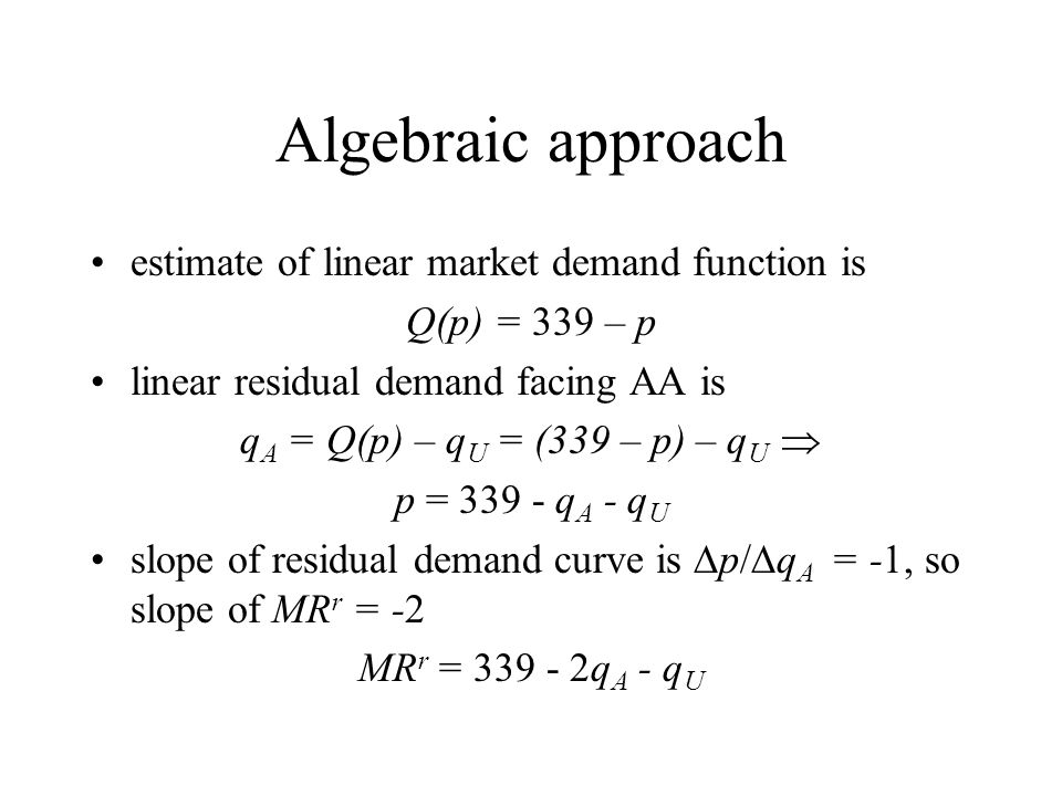 Algebraic approach estimate of linear market demand function is