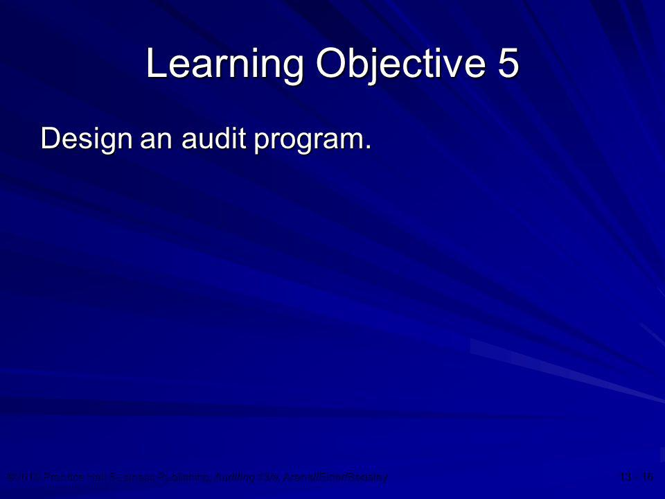 Learning Objective 5 Design an audit program.