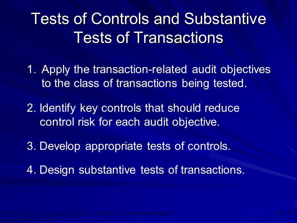 Tests of Controls and Substantive Tests of Transactions