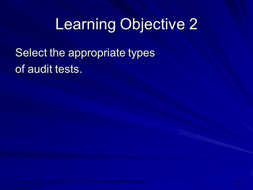 Learning Objective 2 Select the appropriate types of audit tests.