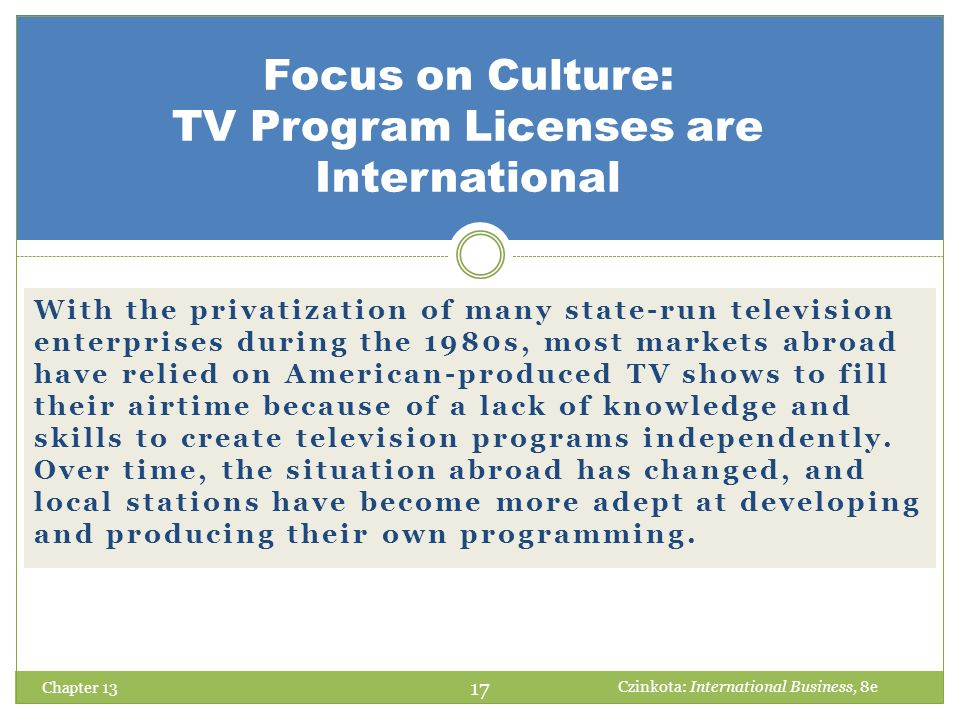 Focus on Culture: TV Program Licenses are International