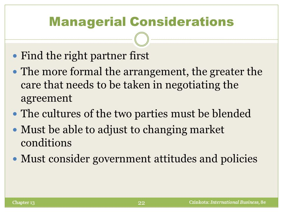 Managerial Considerations