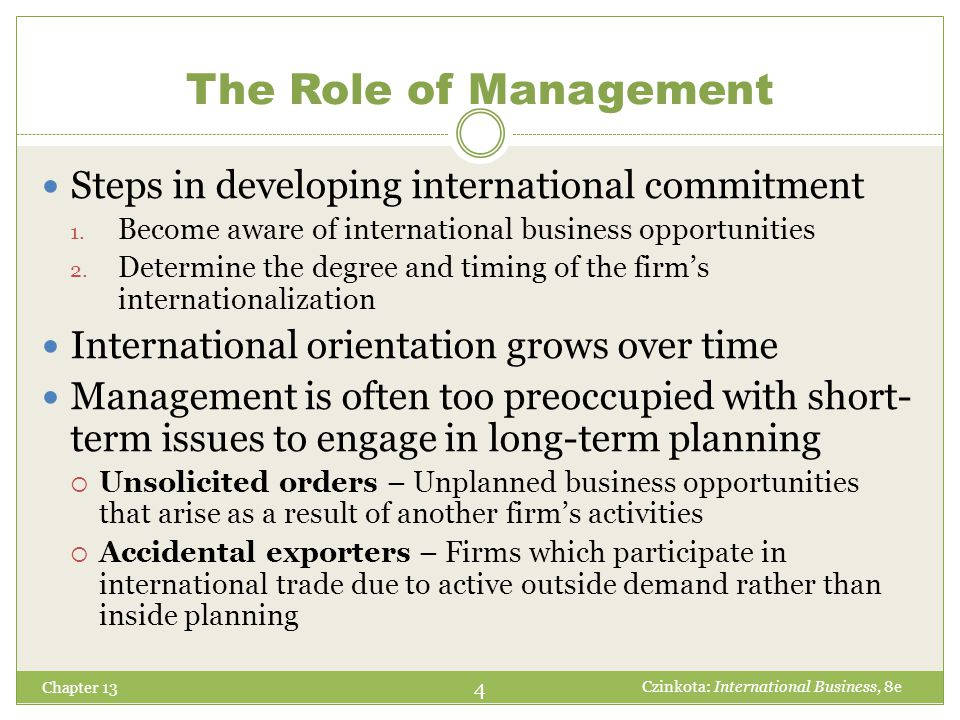 The Role of Management Steps in developing international commitment