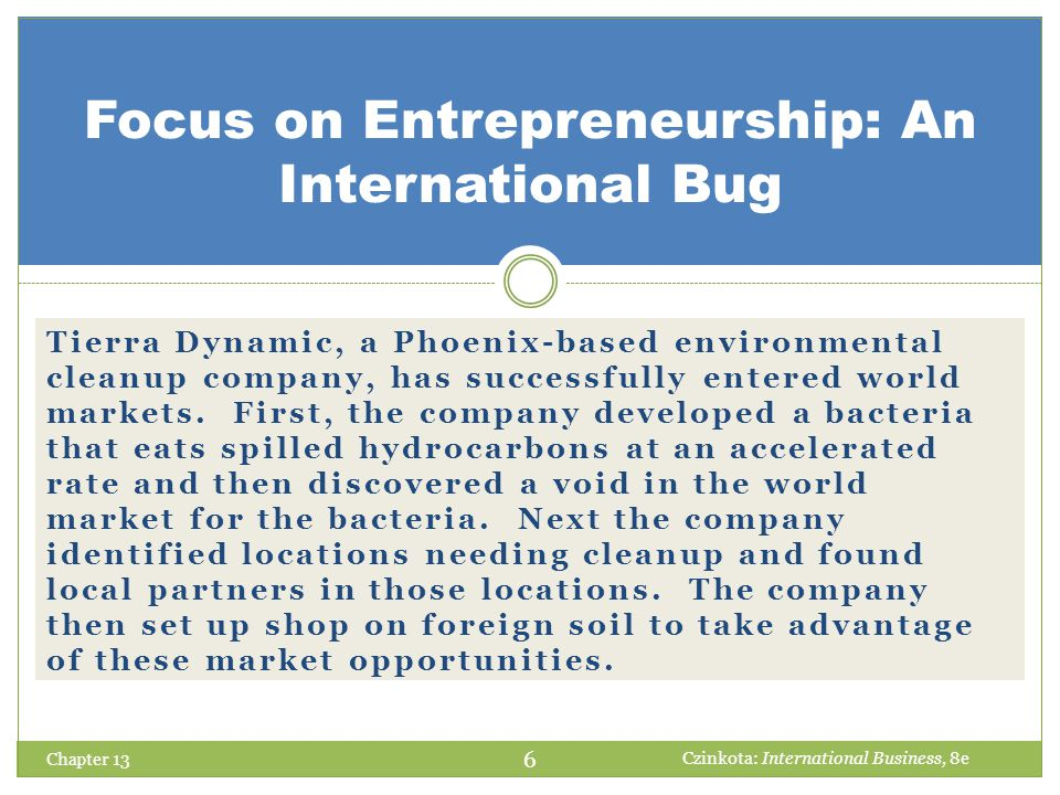 Focus on Entrepreneurship: An International Bug