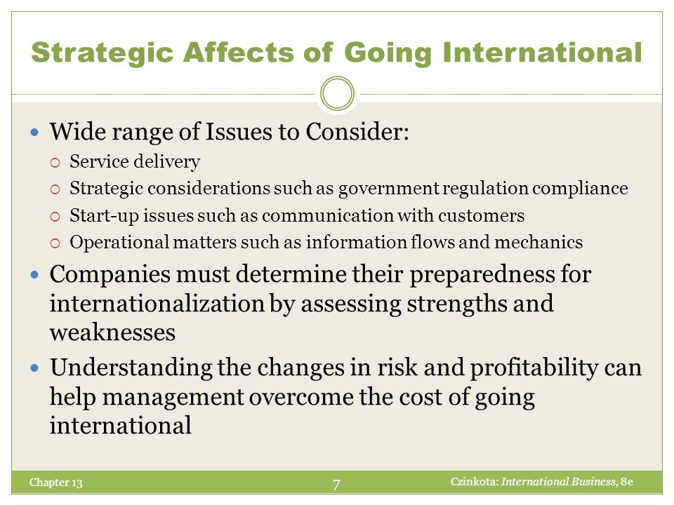 Strategic Affects of Going International