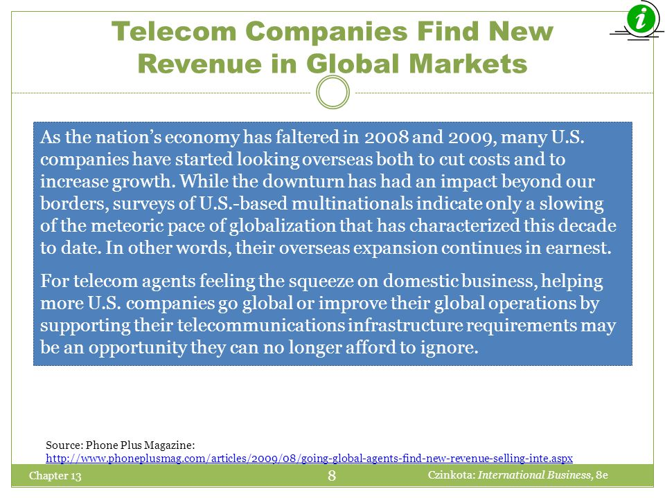 Telecom Companies Find New Revenue in Global Markets