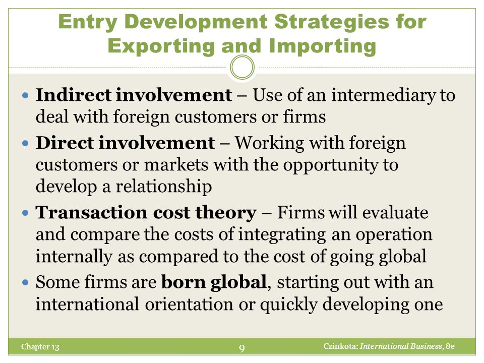 Entry Development Strategies for Exporting and Importing