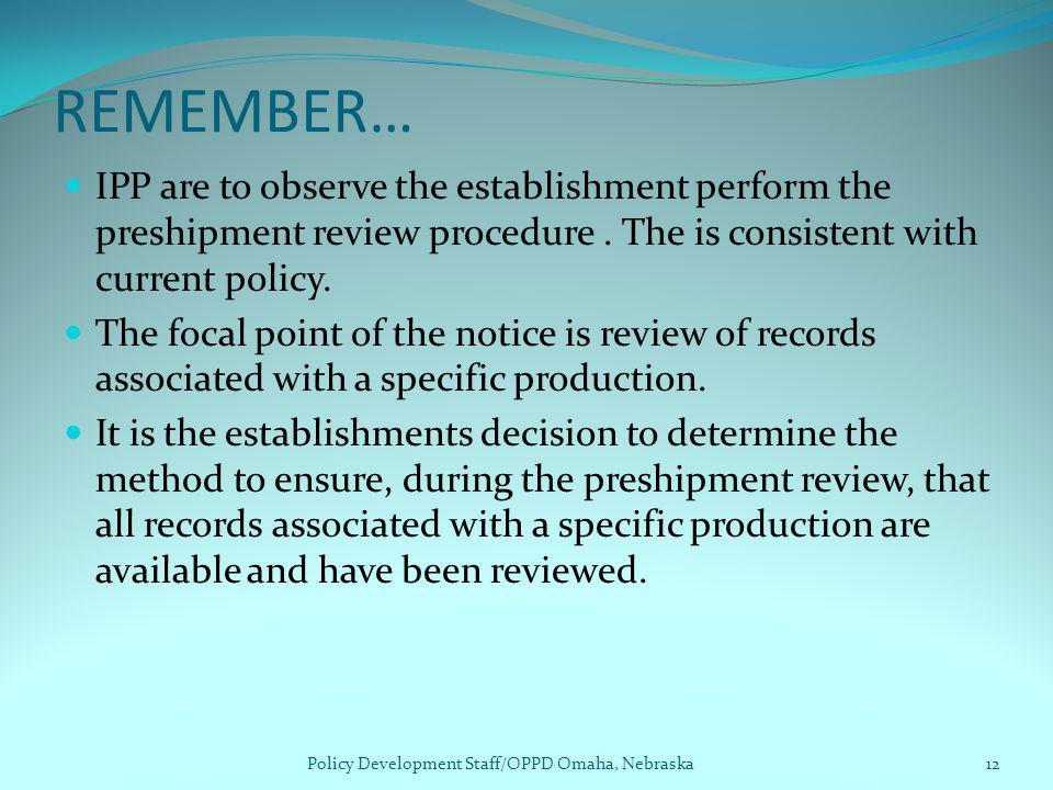 Policy Development Staff/OPPD Omaha, Nebraska