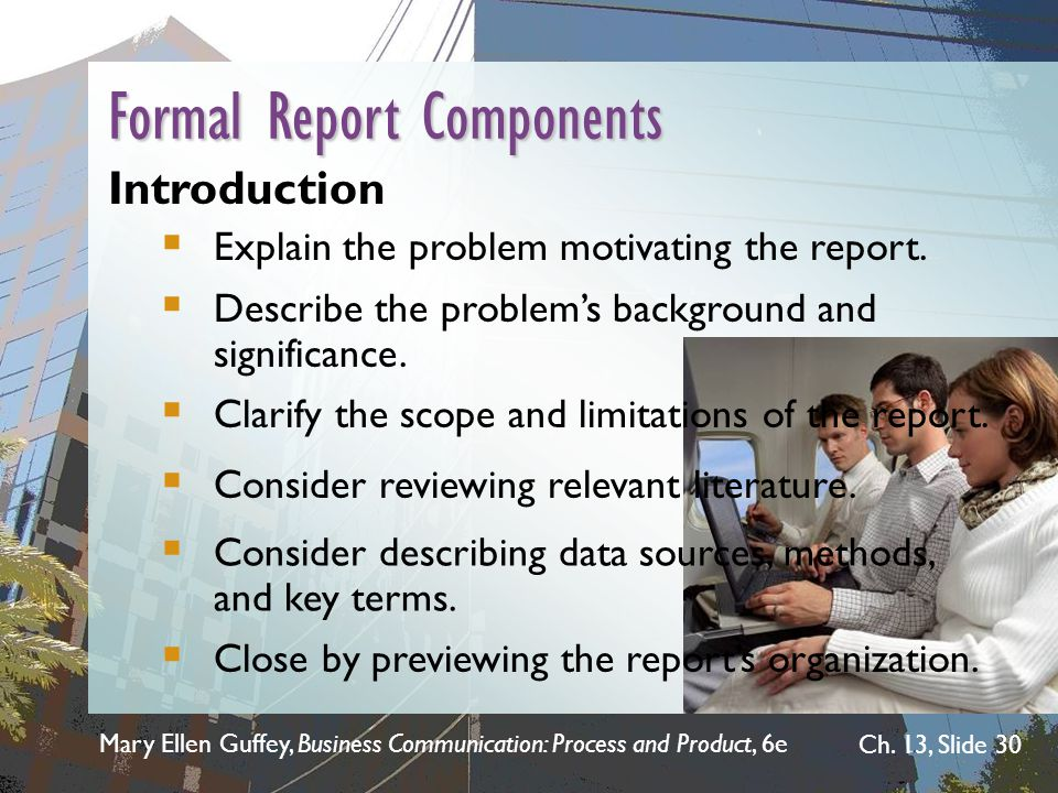 Formal Report Components