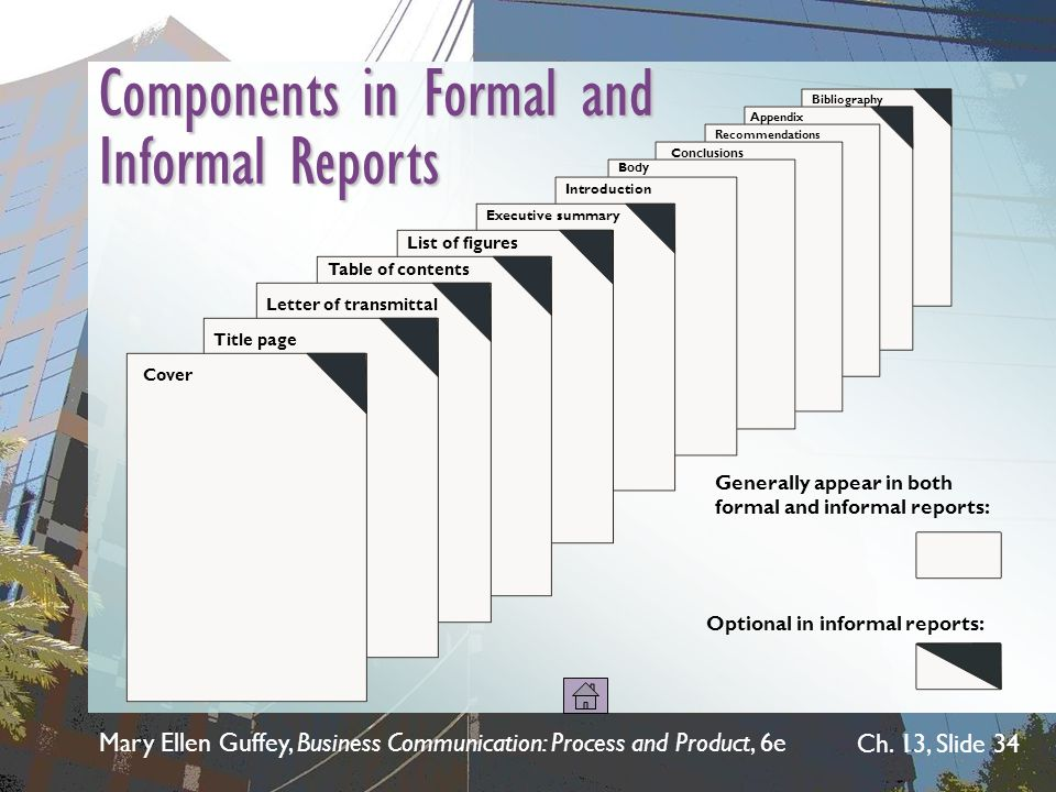 Components in Formal and Informal Reports