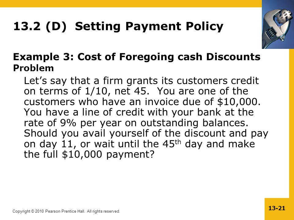 13.2 (D) Setting Payment Policy