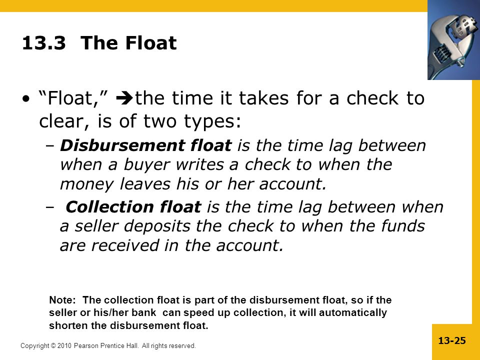 Float, the time it takes for a check to clear, is of two types: