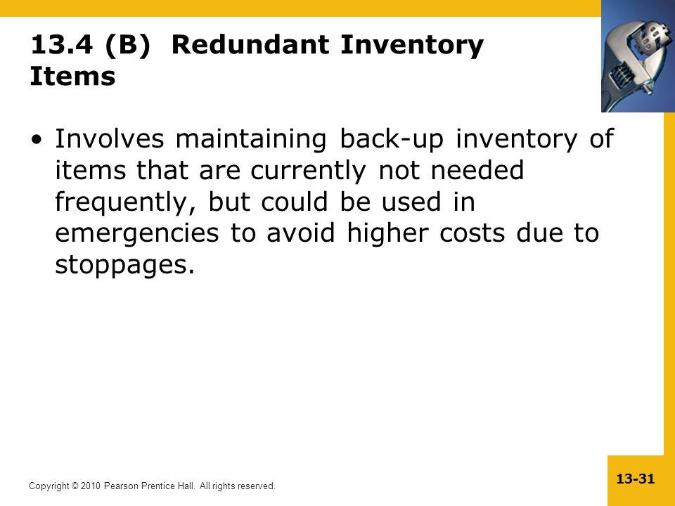 13.4 (B) Redundant Inventory Items
