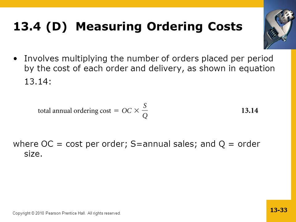 13.4 (D) Measuring Ordering Costs
