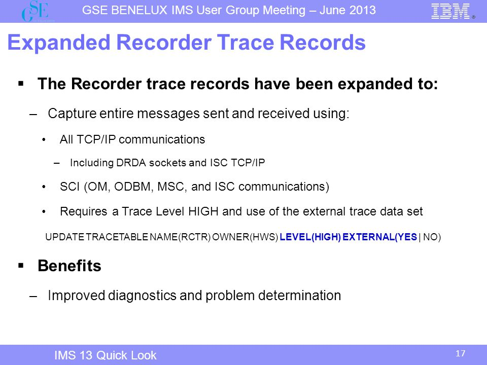 Expanded Recorder Trace Records