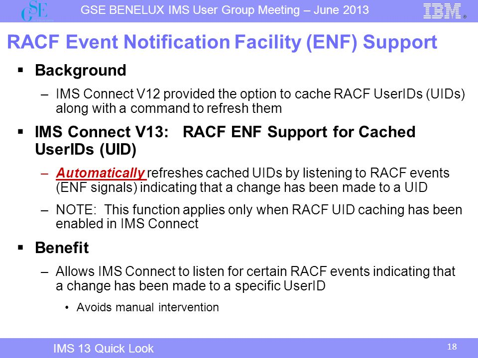 RACF Event Notification Facility (ENF) Support