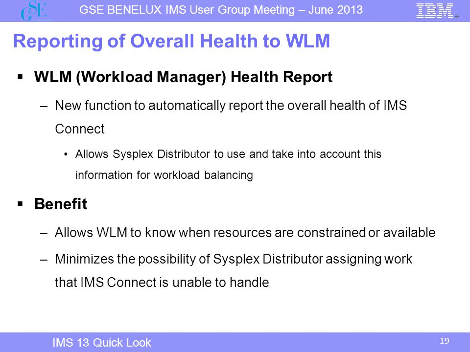 Reporting of Overall Health to WLM