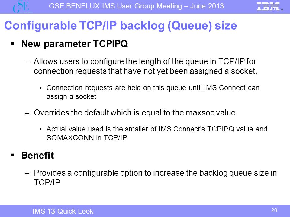 Configurable TCP/IP backlog (Queue) size