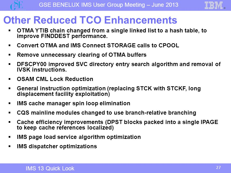Other Reduced TCO Enhancements