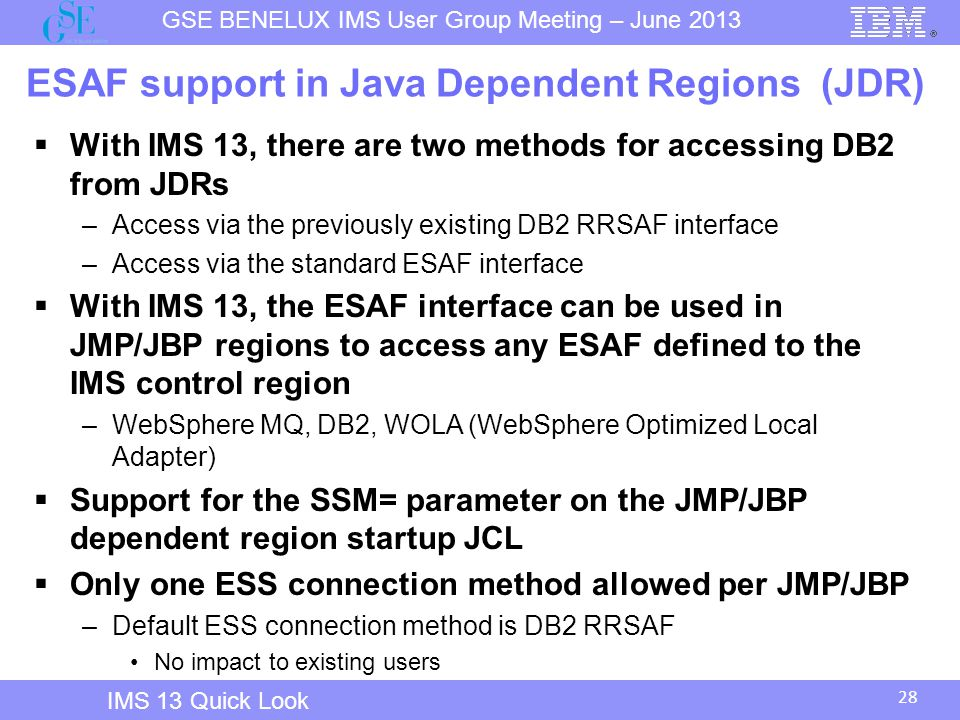 ESAF support in Java Dependent Regions (JDR)
