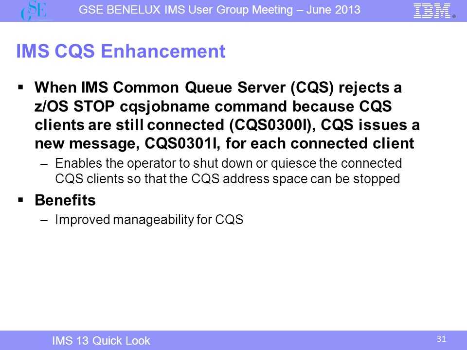 IMS 12 Overview IMS CQS Enhancement.