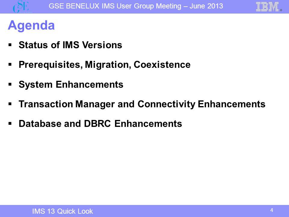 Agenda Status of IMS Versions Prerequisites, Migration, Coexistence