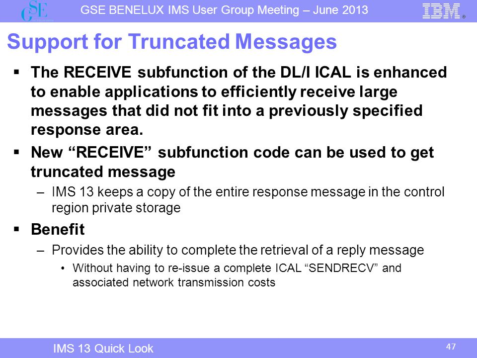 Support for Truncated Messages