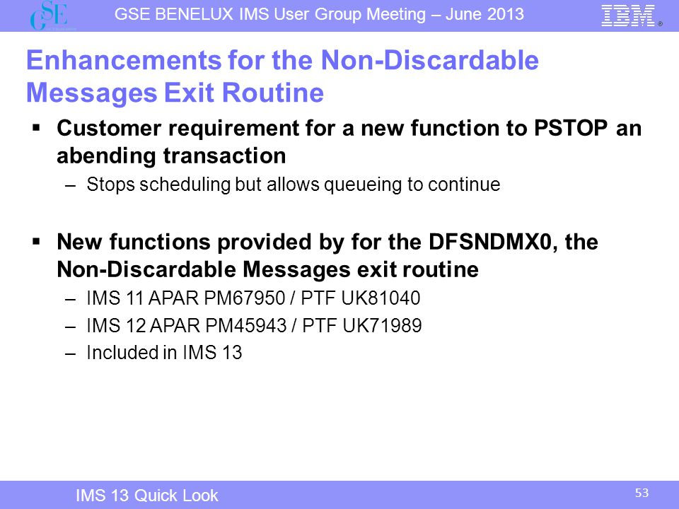 Enhancements for the Non-Discardable Messages Exit Routine