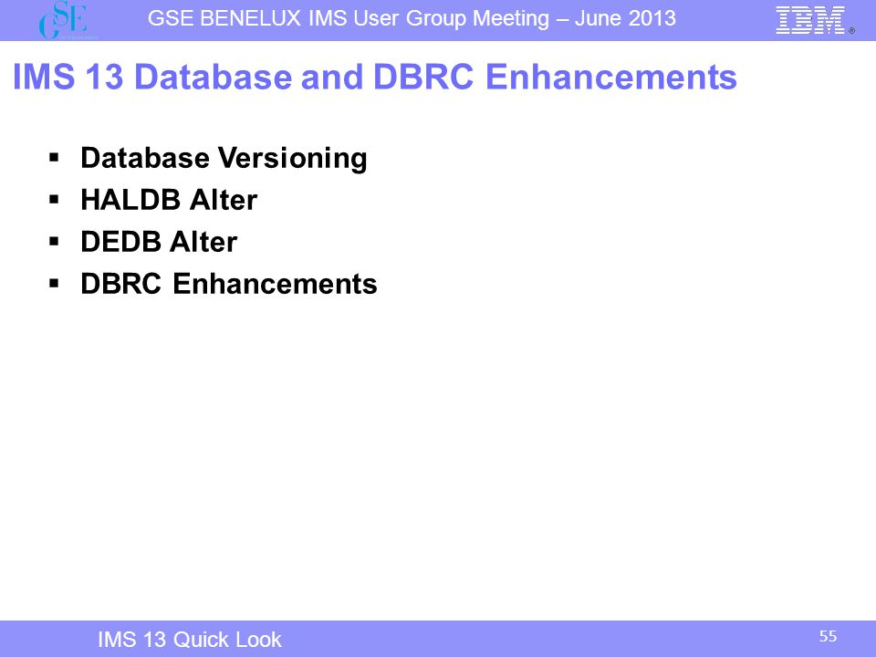 IMS 13 Database and DBRC Enhancements